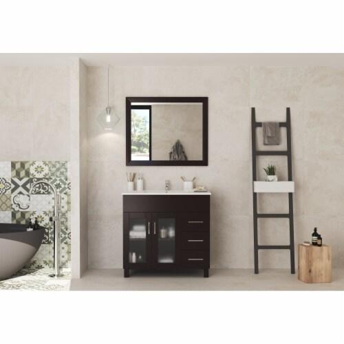 Nova 36 - Brown Cabinet + Ceramic Basin Countertop Perspective: front