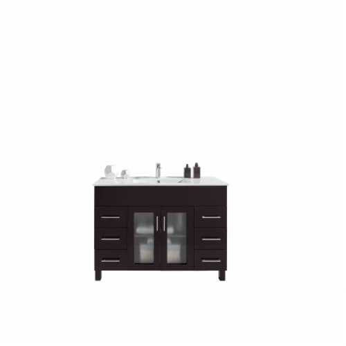 Nova 48 - Brown Cabinet + Ceramic Basin Countertop Perspective: front