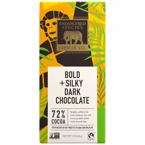 Endangered Species Chimpanzee, Natural Dark Chocolate (72%), 3-Ounce Bars (Pack of 12) Perspective: front