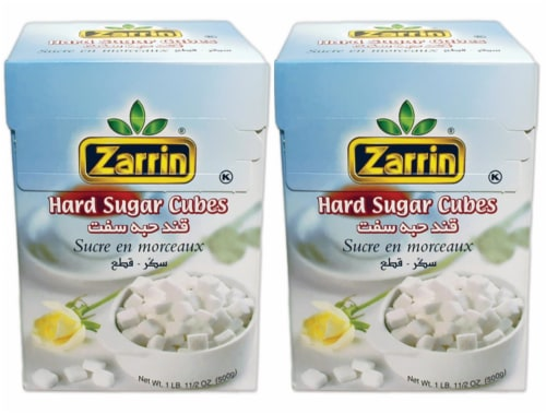 Zarrin Hard Sugar Cubes (2 PACK) - 500G | 17.6 Oz, (Slow Dissolving) Perspective: front