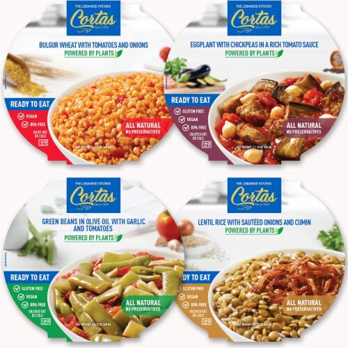 Cortas - Plant Based Ready to Eat Meals (4 in 1 PACK), (Variety Combo), All Natural, Vegan Perspective: front