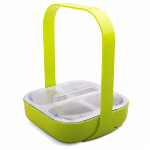 Zak Designs 4 Section Square Kiwi Condiment Caddy with Lid & Handle Perspective: front