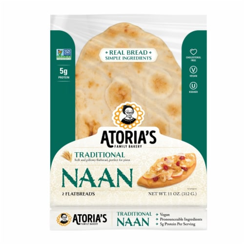 Traditional Naan flatbread 3pc Perspective: front