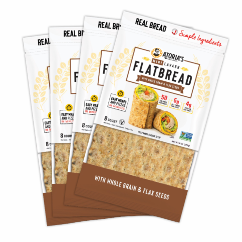 Mini Lavash with Whole Grain and Flax Flatbread Perspective: front