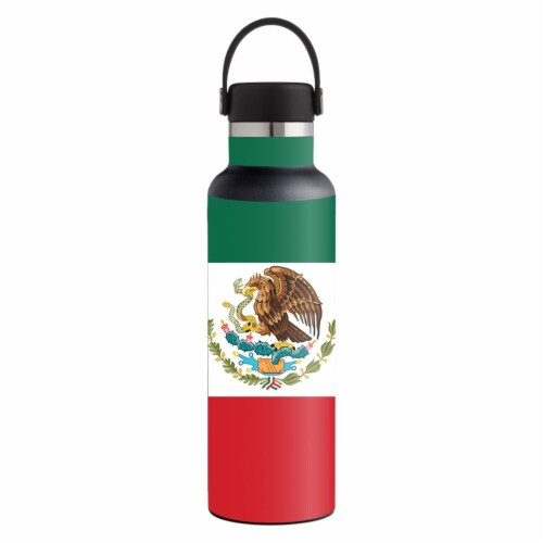 MightySkins HFST21-Mexican Flag Skin for 21 oz Standard Mouth Hydro Flask, Mexican Flag Perspective: front