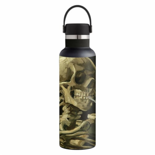MightySkins HFST21-Skull With Cigarette Skin for Hydro Flask 21 oz Standard Mouth - Skull wit Perspective: front