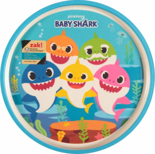 Zak! Baby Shark Melamine Plate - Blue Perspective: front