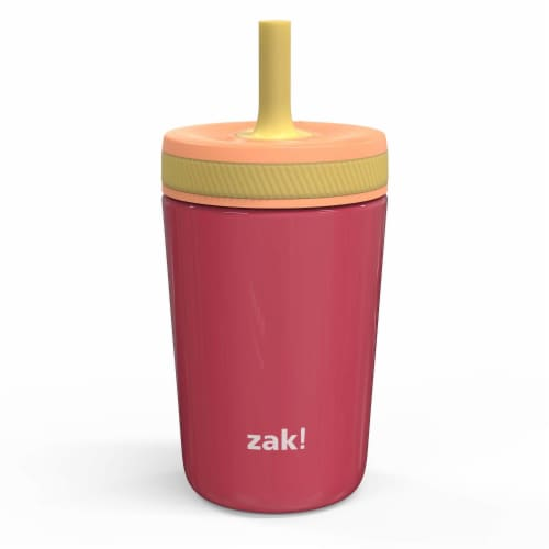 Zak Designs Stainless Steel Double Wall Vacuum Leakproof Tumbler - Pink Perspective: front