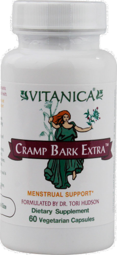 Vitanica Cramp Bark Extra Menstrual Support Supplement Vegetarian Capsules Perspective: front