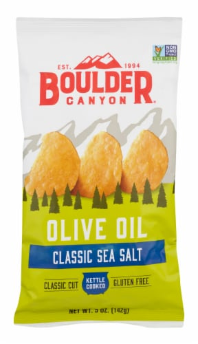 Boulder Canyon Olive Oil Kettle Cooked Potato Chips Perspective: front