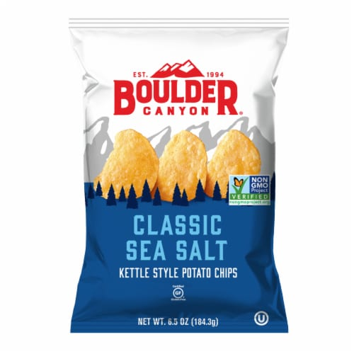 Boulder Canyon Kettle Cooked Classic Sea Salt Potato Chips Perspective: front