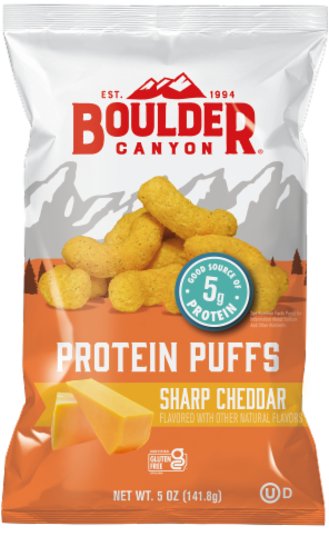 Boulder Canyon Sharp Cheddar Protein Puffs Perspective: front