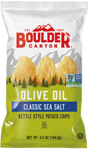 Boulder Canyon Olive Oil Classic Sea Salt Kettle Style Potato Chips Perspective: front