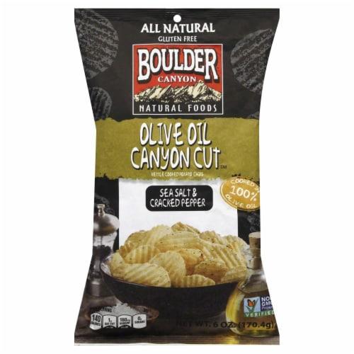 Boulder Oliver Oil Sea Salt Cracked Pepper Chips Perspective: front