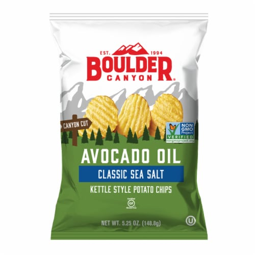 Boulder Canyon Gluten Free Avocado Oil Classic Sea Salt Kettle Cooked Potato Chips Perspective: front