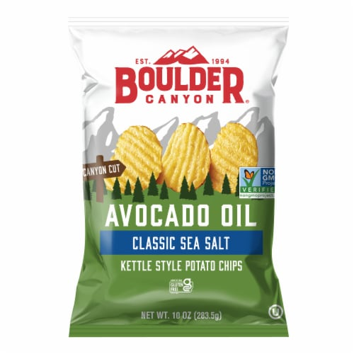 Boulder Canyon Avocado Oil Sea Salt Kettle Cooked Chips Perspective: front