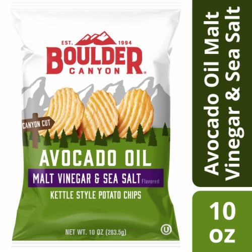 Boulder Canyon Malt Vinegar & Sea Salt Kettle Cooked Chips Perspective: front