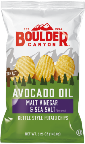 Boulder Canyon Avocado Oil Kettle Cooked Malt Vinegar & Sea Salt Potato Chips Perspective: front