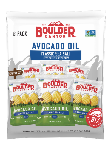 Boulder Canyon Avocado Oil Classic Sea Salt Kettle Cooked Potato Chips Multipack 6 Count Perspective: front