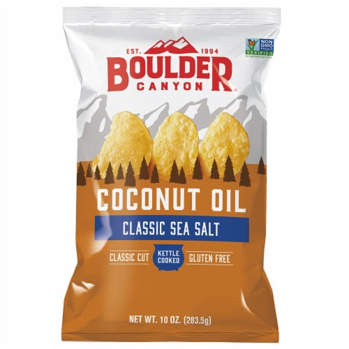Boulder Canyon Coconut Oil Sea Salt Kettle Cooked Chips Perspective: front