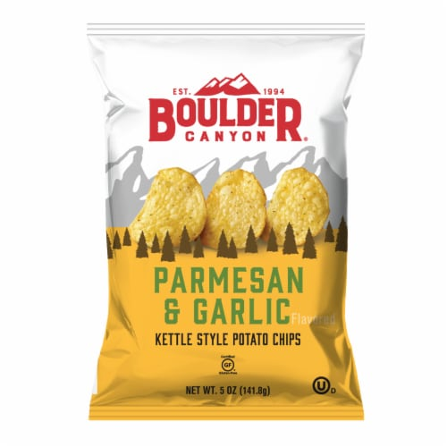 Boulder Canyon Parmesan & Garlic Kettle Chips Perspective: front
