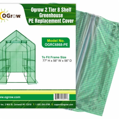 Ogrow OGRC6868-PE 2 Tier 8 Shelf Greenhouse PE Replacement Panel Cover to Fit Frame, 77 x 56 Perspective: front