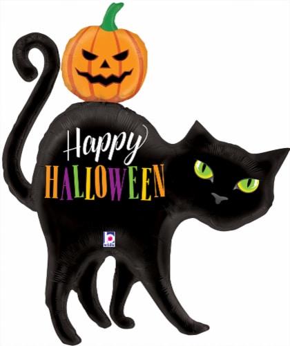 Betallic Happy Halloween Cat & Pumpkin Foil Balloon Perspective: front