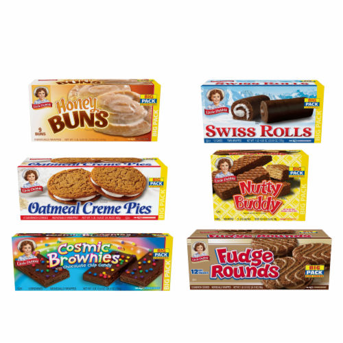 Oatmeal Crème Pies, Honey Buns, Swiss Roll, Fudge Rounds, Cosmic Brownie and Nutty Bars Perspective: front