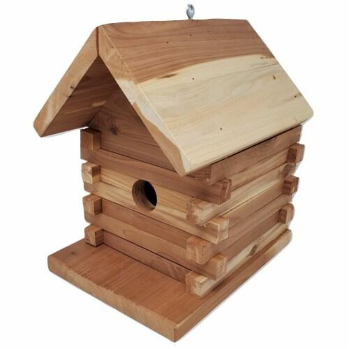 Premium Log Cabin Birdhouse - Attract Bluebirds, Wren, Chickadee, Finch, Swallow, More Perspective: front