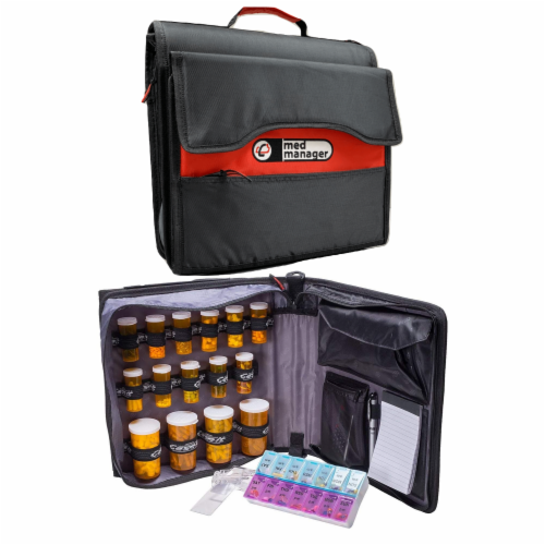 Med Manager Deluxe Medicine Organizer and Pill Case, Holds (15) Pill bottles, Black Perspective: front