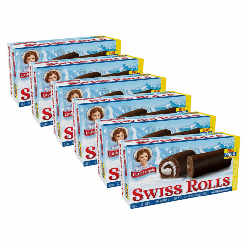 Little Debbie Big Pack Swiss Rolls, 6 Big Pack Boxes, 36 Twin Wrapped Chocolate Cake Rolls Perspective: front