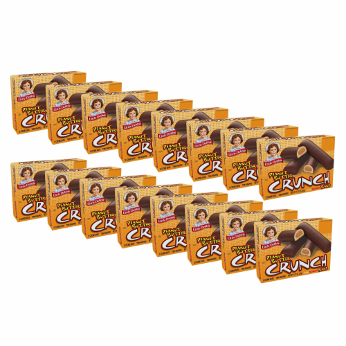 Little Debbie Peanut Butter Crunch Bars, 16 Boxes, 192 Twin Wrapped Crunchy PB Snacks Perspective: front