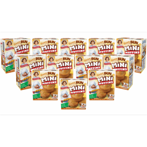 Honey Bun Mini Muffins, 12 Boxes, 60 Travel Pouches of Bite Size Muffins Perspective: front