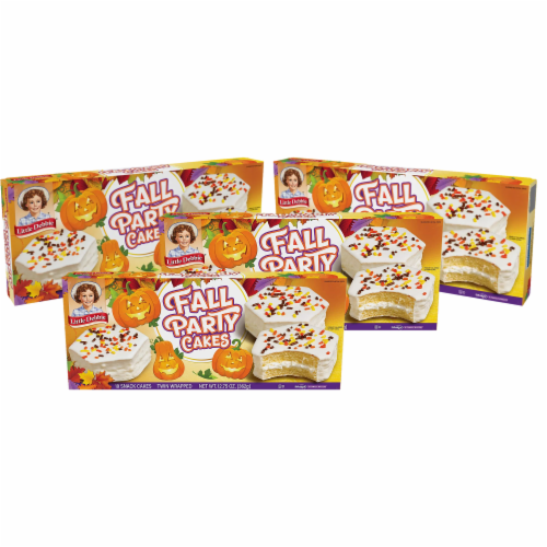 Little Debbie Fall Party Cakes, Vanilla, 4 Boxes, 20 Twin Wrapped Cakes Perspective: front