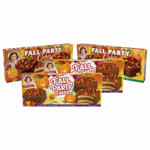 Little Debbie Fall Party Cakes, Chocolate, 4 Boxes, 20 Twin Wrapped Cakes Perspective: front