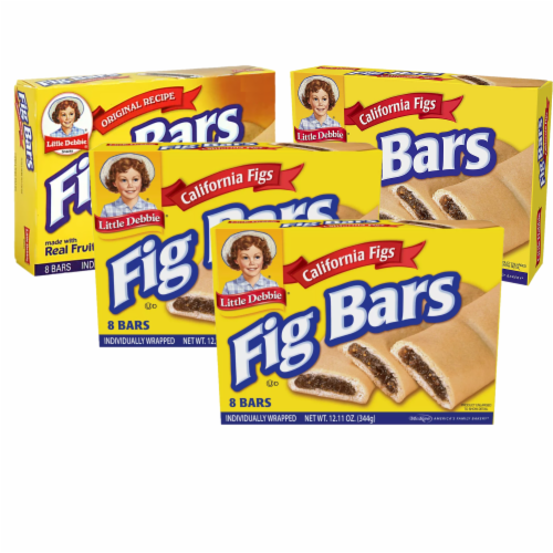 Little Debbie Fig Bars, 4 Boxes, 32 Individually Wrapped Chewy Cookies with Real Fig Filling Perspective: front