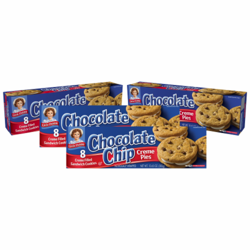 Choc Chip Creme Pies, 4 Boxes, 32 Individually Wrapped Chocolate Chip Pies with Vanilla Perspective: front