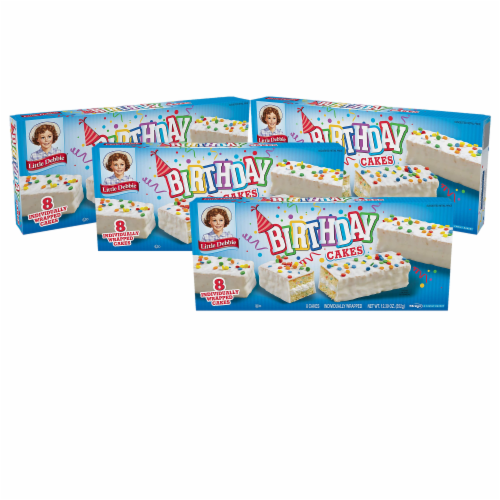 Birthday Cakes, 4 Boxes, 32 Individually Wrapped Vanilla Cakes with Candy Confetti Perspective: front