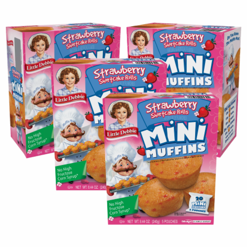 Strawberry Shortcake Rolls Mini Muffins, 4 Boxes, 20 Travel Pouches of Bite-Size Muffins Perspective: front