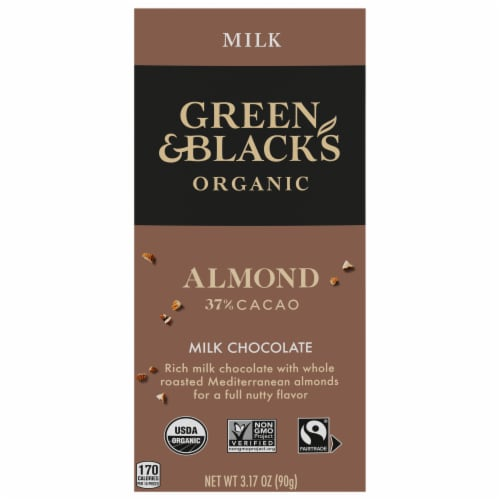 Green & Black's Organic Almond Milk Chocolate Bar Perspective: front