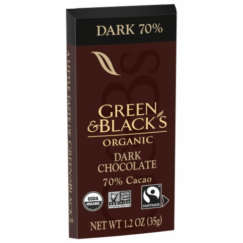 Green & Black's Organic 70% Dark Chocolate Bar Perspective: front