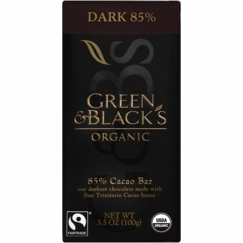 Green & Black's Organic 85% Cacao Dark Chocolate Bar Perspective: front