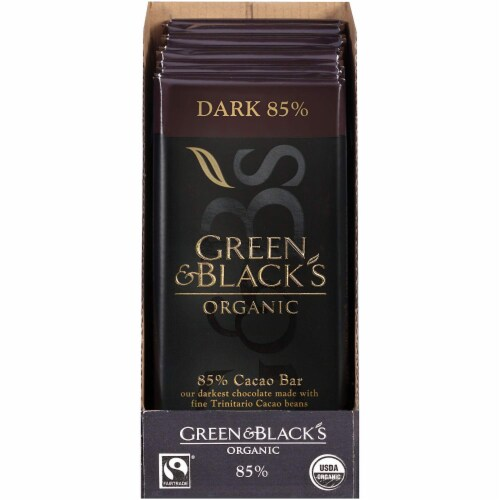 Green & Black's Organic Dark Chocolate, 85% Cacao, 3.5 Ounce (Pack of 10) Perspective: front