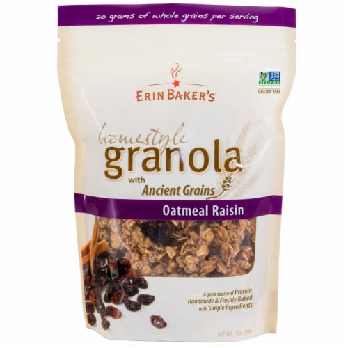 Erin Baker's Homestyle Oatmeal Raisin Granola Perspective: front