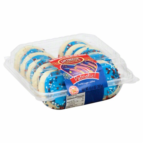 Lofthouse Patriotic Blue Frosted Sugar Cookies Perspective: front