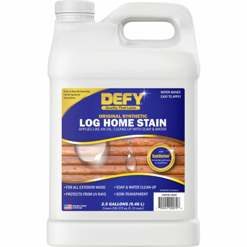 DEFY Original Synthetic Log Home Stain Coastal Cedar 2.5gal Perspective: front