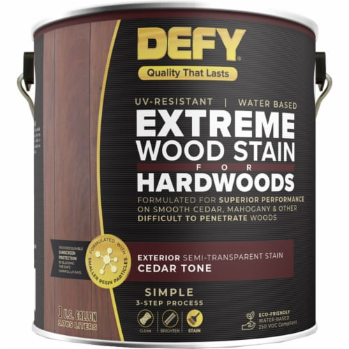 DEFY Deck Stain for Hardwoods Cedar Tone gal Perspective: front