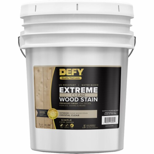DEFY Extreme Wood Stain Crystal Clear 5gal Perspective: front
