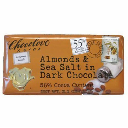 Chocolove 55% Dark Chocolate with Almonds & Sea Salt Bar 3.2oz (Pack of 12) Perspective: front