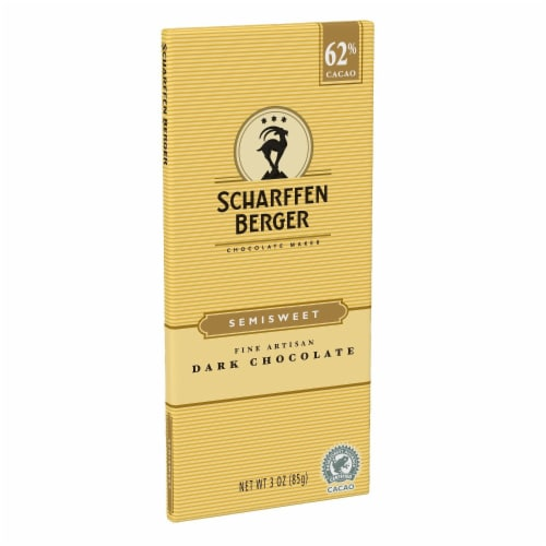 SCHARFFEN BERGER 62% Cacao Semisweet Dark Chocolate Bar, 3 Ounce (Pack of 1) Perspective: front